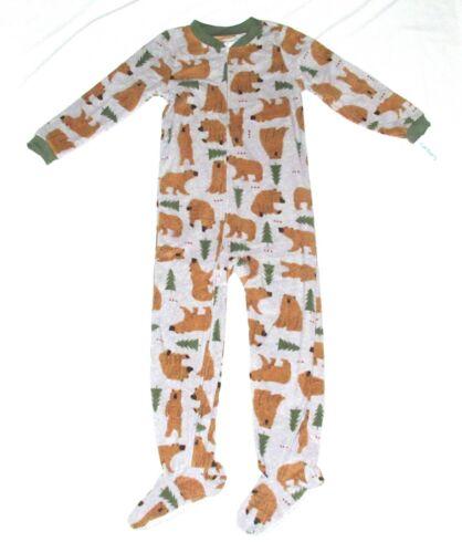 Carters Fleece Footed pajama Blanket Sleeper Size 12 Bear Pine Tree Woods