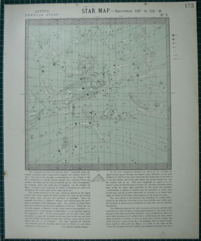 1883 LETTS STAR MAP & CONSTELLATIONS ~ ASTRONOMY VIRGO LEO HYDRAURSA MAJOR
