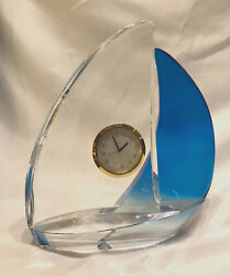 BULOVA Hoya Crystal Sail Boat Quartz Desk Clock Blue & Clear Sales 8 Tall