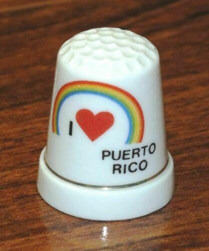 Unbranded I Love Puerto Rico White Ceramic Collectible Souvenir Thimble!