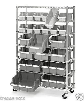 New 7 Shelf 22 Bin Rack Rolling Storage Shelving Commercial Storing Wire Shelves