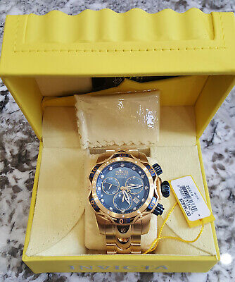 Invicta RESERVE Venom Gen III Swiss Chronograph BLUE Dial Gold Bracelet Watch