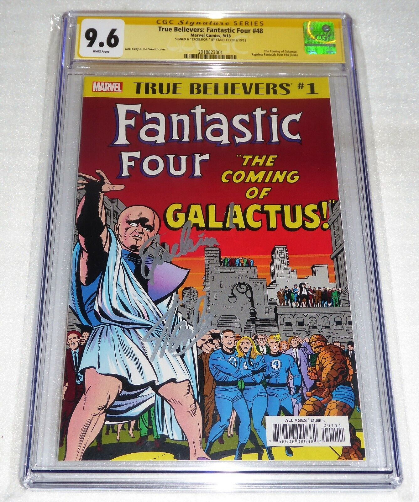 True Believers Fantastic Four #48 Signed EXCELSIOR by STAN LEE Silver Surfer FF