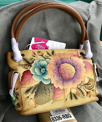 Anuschka🌻Anna NWT Zip Top Side Pocket East-West Shoulder Bag🌻Rustic Bouquet