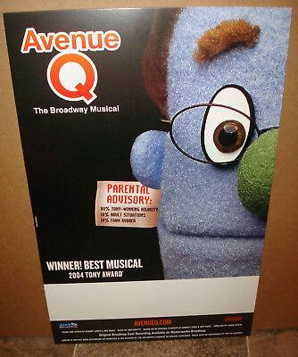 Avenue Q Musical Broadway Cast Recording CD Advertising Window Card Poster  for sale  Wapakoneta