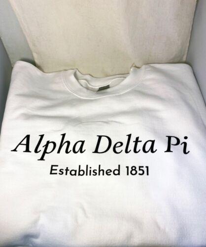 Alpha Delta Pi ADPI Sorority Crewneck Sweatshirt- White- Style 2- Size Large