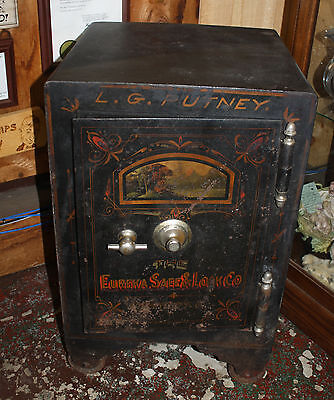 Antique 19th Century Cast Iron Safe Folk Art Painting Eureka on Rummage