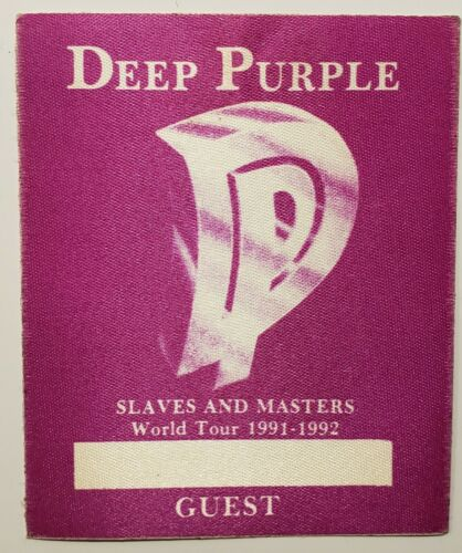 DEEP PURPLE Slaves and Masters World Tour 1991-1992 Cloth Backstage Pass