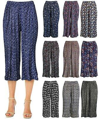 Womens Pleated Wide Leg Cropped Capri Culotte Pants