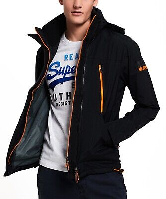 Superdry Mens Technical Hooded Wind Attacker Multi Zip Up Jacket Coat Black