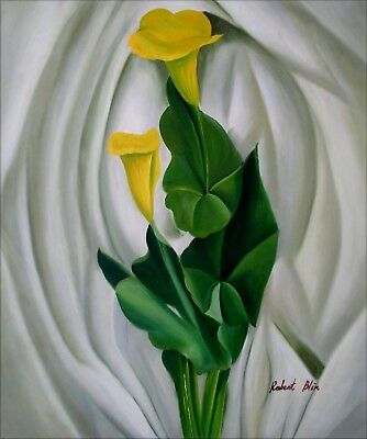 Lilies Oil Painting - Quality Hand Painted Oil Painting, Still Life with Yellow Calla Lilies, 20x24in