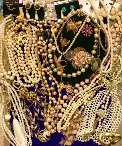 Vintage to Modern Faux Pearl Rhinestone Designer Jewelry Lot Kennth Jay Lane Tri