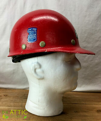 Vintage Hardhat Fibremetal Superglas Fiberglass Duck Bill Hard Hat Red Used