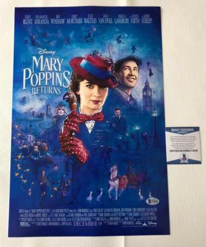 EMILY BLUNT SIGNED 12X18 'MARY POPPINS RETURNS' PHOTO AUTHENTIC AUTO BECKETT BAS
