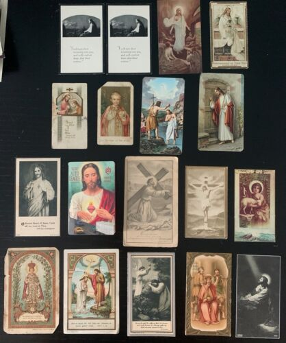 Vintage Lot of 18 Catholic Holy/Prayer/Indulgence Cards - Jesus Christ