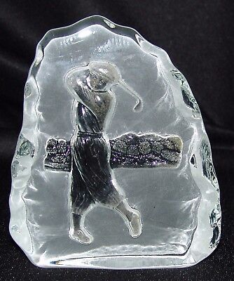 Frosted Glass Golf Golfer Paperweight Desk Gift Decoration