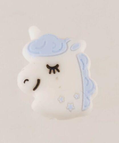 Unicorn Pony Silicone Accent Bead Crafty Decoration 2.5cm tall Light Blue Hair