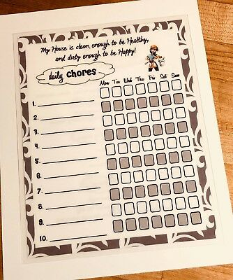 Daily Chores Cleaning Schedule Laminated Reusable Sheet