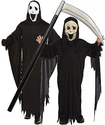 Boys Girls Mens Adult Scream Robe & Mask Halloween Fancy Dress Costume + SCYTHE - Girl Scream Costume
