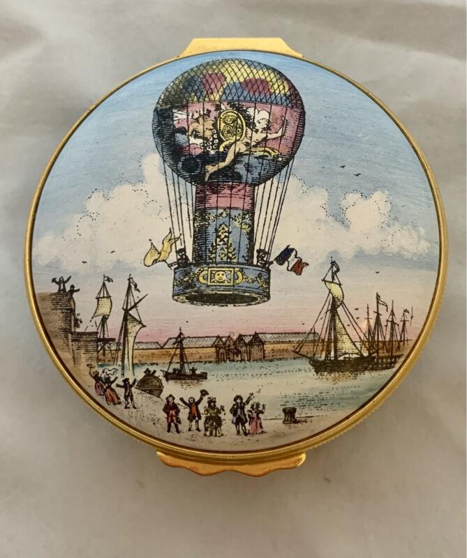 Vintage Bilston Battersea Enamel Box,  Hot Air Balloon, Rozier/D