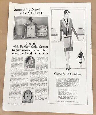 Vivatone cold cream ad 1927 vintage print 20s art illustration makeup beauty