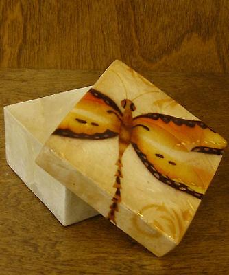 Kubla Crafts CAPIZ box #KC1740B ORANGE DRAGONFLY 1.5