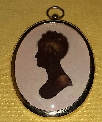 Silhouette Portrait Miniature of a lady in an empress style dress