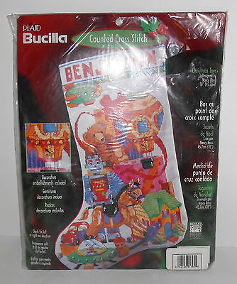 Bucilla Counted Cross Stitch Christmas Toys Stocking Kit 84639 SEALED New