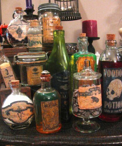 12 Primitive Halloween Potion Apothecary Labels Peel&Stick (set#1) Witch Decor