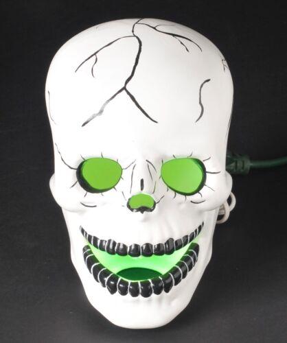 Vintage Halloween Ceramic Scary Skull Skeleton Head Blinking Light Large Prop