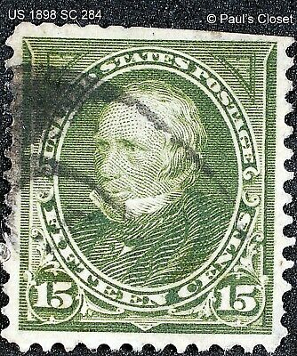 US 1898 SC 284 15¢ CLAY OLIVE GREEN UNG P12 FINE  SEE PHOTOS