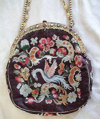 Antique Petit Point Handbag Purse Phoenix Tapestry Jeweled Frame Vintage