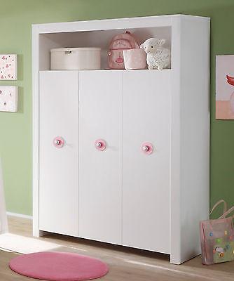 Baby Schrank Kleiderschrank weiß 3-türig rosa Kinderzimmer Möbel GS-gepr. Olivia