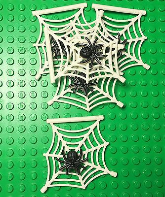 Lego X5 New White Spider Web Hanging Style With Black Spider / Halloween Parts