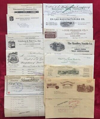1929 DRUG STORE BILLHEAD / INVOICES - LOLLY POPS - EX LAX - CIGARS - WATERMANS