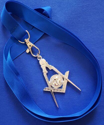 Masonic Collar SILVER Jewel SENIOR DEACON with Blue NECK Strap by DEURA USA