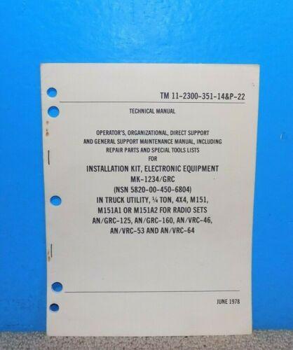 MK-1234/GRC Installation Kit Technical Manual TM11-2300-351-14&P-22 1978