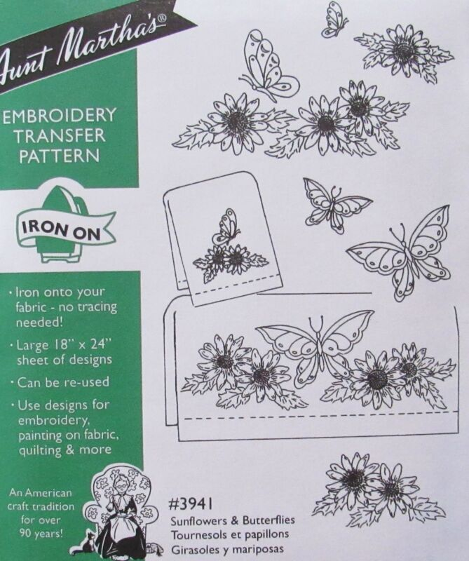 Aunt Marthas 3941 Sunflowers Butterflies Floral Embroidery Transfer Pattern NEW
