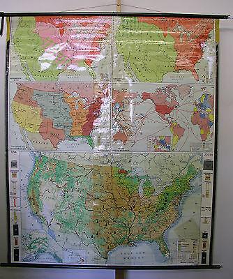 Schulwandkarte USA Map North America Großmacht Super Power 166x195 Map 1965 Card
