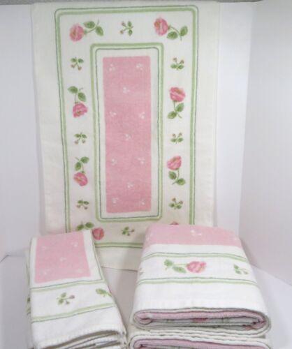 6 Vintage SPRINGMAID Pink Floral Towels ~ 4 Hand Towels ~ 2 Bath Towels NICE