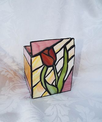 STAINED GLASS CANDLE HOLDER, Tulip design Yellow & Purple Box Candle holder 3.5