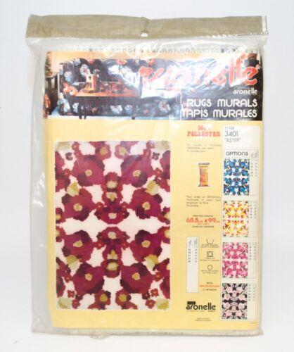 """Vintage Rugnelle Hook Rug Carpet Printed Canvas Aster Floral 27"""" x 39"""" New #3401"""