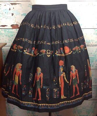 """Vtg Black Egyptian Novelty Print Border Circle Full Skirt S Small 28"""" Waist 50s"""