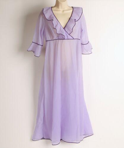 VINTAGE 60s St. Michael Sheer Nylon Lavender Nightgown Purple Trim Size 38