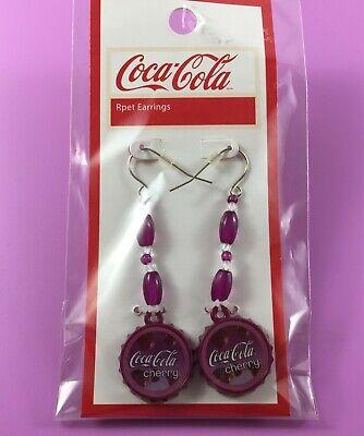 Cherry Coca-Cola Bottle Tops Dangle Pierced Earrings -  NEW