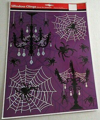 HALLOWEEN Window Clings  SCARY HALLOWEEN DECOR w/ SPIDERS AND SPIDER WEBS - Scary Halloween Window