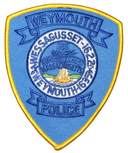 WEYMOUTH MASSACHUSETTS MA Sheriff Police Patch CITY SEAL TALL SAILING SHIP ~