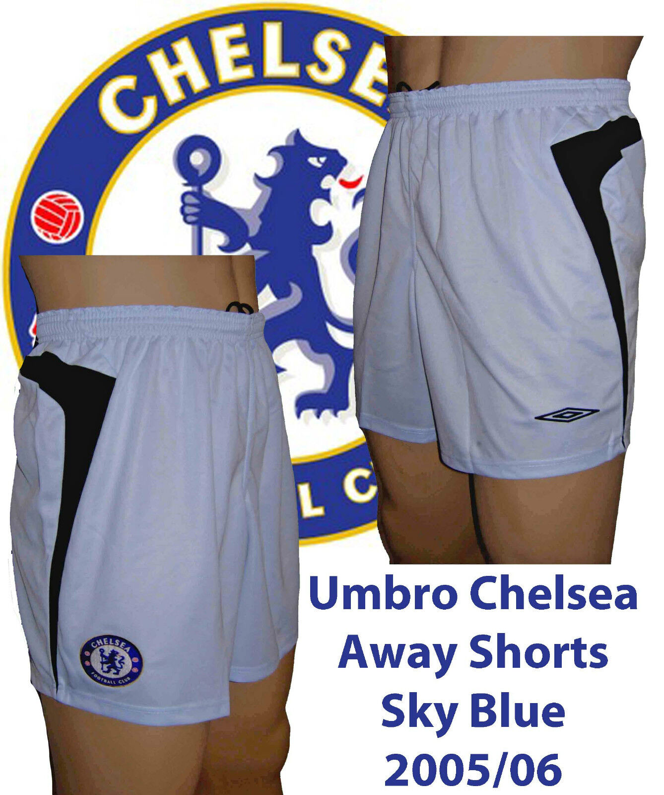Umbro Chelsea Away Shorts Xx/large Sky 2005/06 Only 1