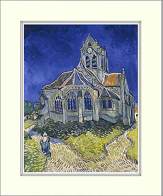 Van Gogh The Church at Auvers 10 x 8 Inch Mounted Art Print
