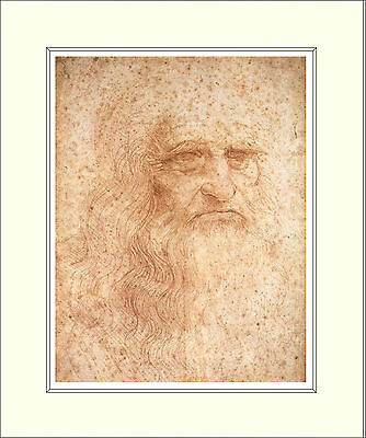 Leonardo Da Vinci Self Portrait 10 x 8 Inch Mounted Art Print